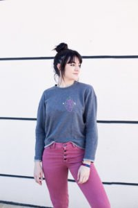 sweater for spring with flowering heart print