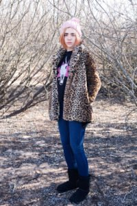 winter look with unicorn and animal print t-shirt